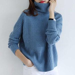 Sweaters - 100% Cashmere / Wool Blend Turtleneck Knit Sweater